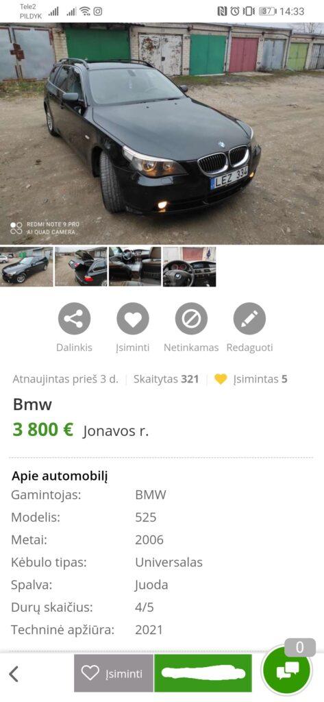 Jonavoje į namą įvažiavusio BMW automobilio skelbimas