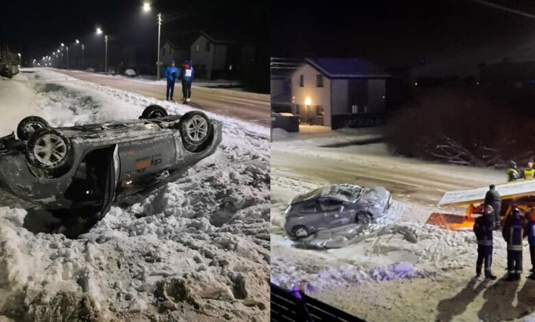 Kaune, Seniavos pl., nutiko eismo įvykis, nuo kelio nuvažiavo ir apsivertė Citybee įmonei priklausantis automobilis.