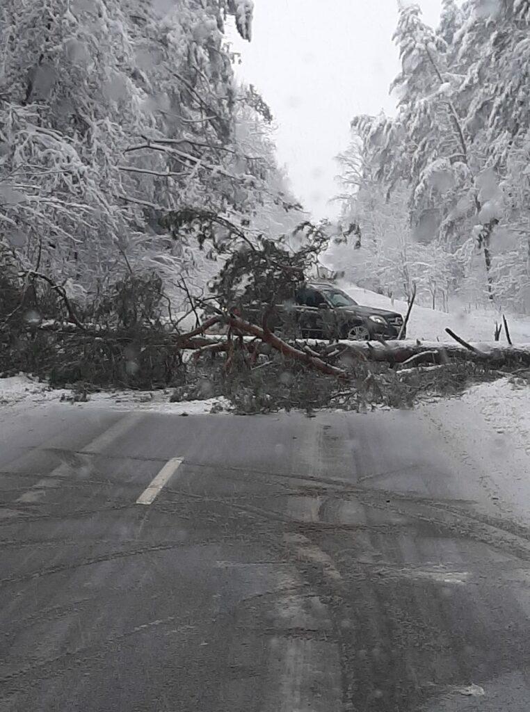 Užblokuotas kelias Lentvario gatvėje netoli Trakų plento.