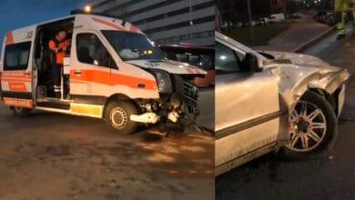 """Avarija Vilniuje: susidūrė greitosios pagalbos ir """"Volvo"""" markės automobiliai"""