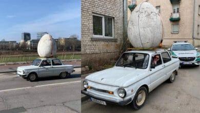 """Dėmesio Velykų dieną susilaukęs """"zaparožietis"""": Vilniaus gatvėmis važinėjo su kiaušiniu ant stogo"""