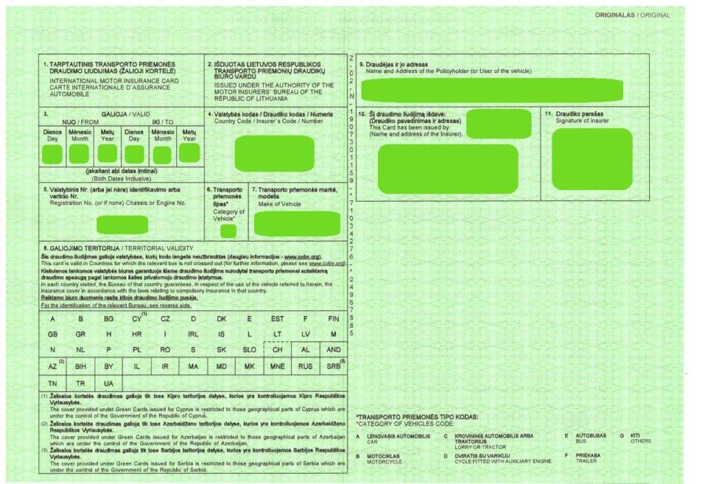 Žalioji kortelė – tai tarptautinis transporto priemonės valdytojo civilinės atsakomybės draudimo liudijimas