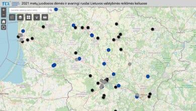juodųjų dėmių ir avaringų ruožų žemėlapis valstybinės reikšmės keliuose
