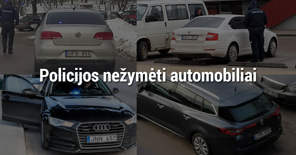 Neoficialus sąrašas. Policijos nežymėti automobiliai. Automobilių markės, modeliai, spalvos ir valstybiniai numeriai.