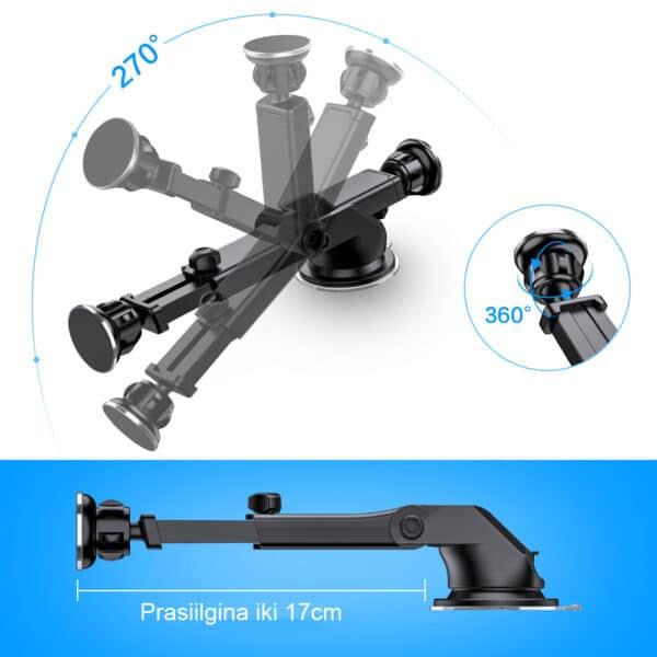 Magnetinis teleskopinis telefono laikiklis automobiliui MATL-03