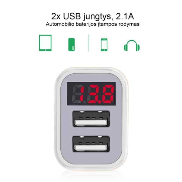 Automobilinis įkroviklis su 2x USB jungtimis 2.1A - AITI-02