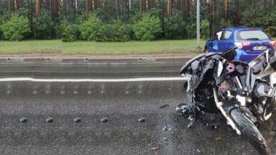 Avarija Vilniuje: susidūrė motociklas ir lengvasis automobilis