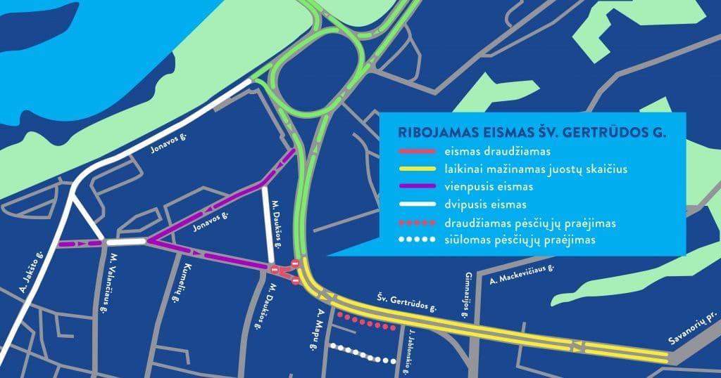 Kaune atnaujinamas eismas Pilies žiedu, P. Vileišio tiltu ir P. Kalpoko gatve