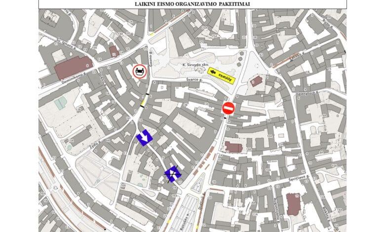 Rugpjūčio 23-26 d. laikinai draudžiamas transporto eismas ties Didžiosios g. pastatu Nr.3