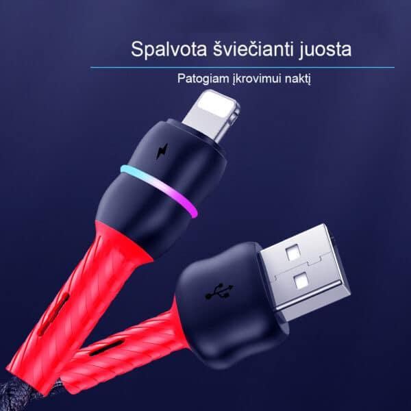Telefono laidas USB Lightning 8pin, 2.4A, 1 m - TLII-01