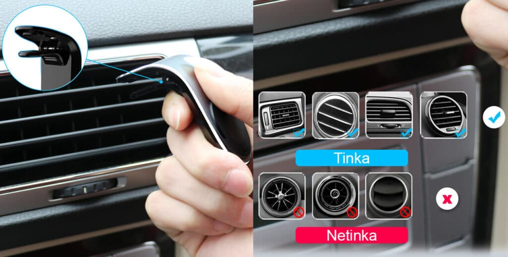 Automobilinis telefono laikiklis tinka standartinėms oro ventiliacijos angoms. Netinka apvalioms angoms.