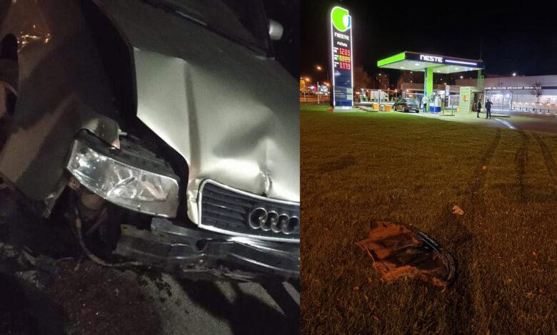 Avarija Klaipėdoje: automobilio nesuvaldęs ir į degalinę įvažiavęs vairuotojas pasišalino iš įvykio vietos