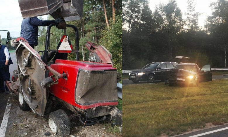 Avarija Vilniuje: automobilis rėžėsi į traktoriuką - žoliapjovę