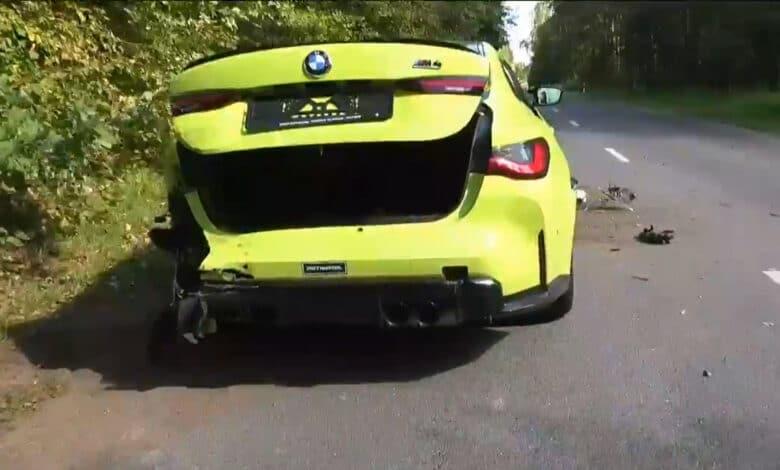 """Avarija Vilniuje: nesuvaldytas """"BMW M4"""" apgadino mažiausiai 3 automobilius (video)"""